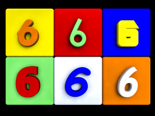 various numbers 6 on colored cubes