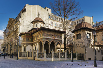 Stavropoleos Monastery in the old town area of Bucharest
