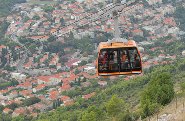 Croatia, Dubrovnik, Ropeway on mountain Srdzh