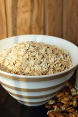 A plate of oatmeal.