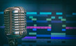 Retro microphone over recording software background. - 81249092