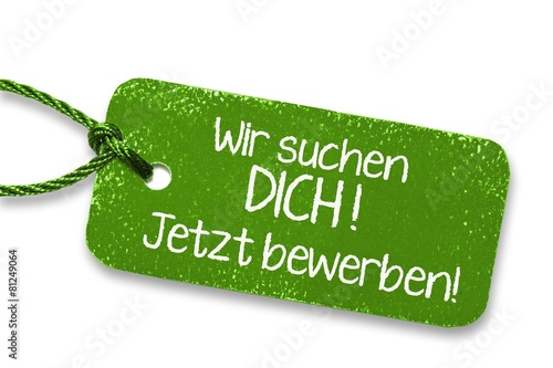 Leinwanddruck Bild Jobangebot Label grün
