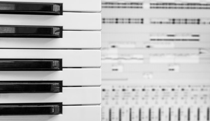 Piano keys over recording software background.