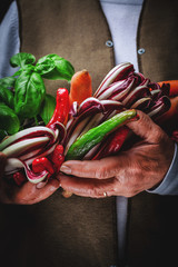 fruits and vegetables in hands