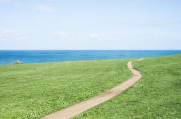 Field, path, sea and sky