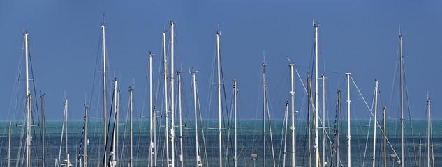 Italy, Sicily, sailing boat  masts in the marina