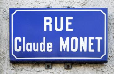 Ancien modèle de plaque de la rue Claude Monet (Giverny)