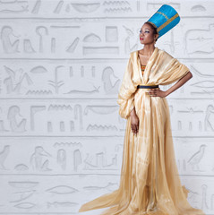 beautiful dark-skinned girl  in the image of the Egyptian queen