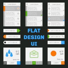 Set of templates mobile interface. Flat  UI/UX. Can be used in m