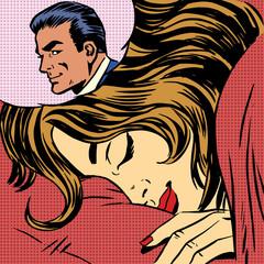 Dream woman man love romance lovers pop art comics retro style H