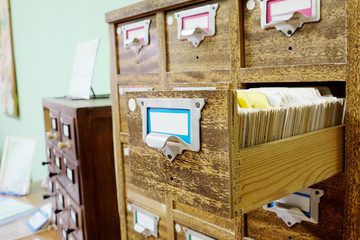Catalog cards in library