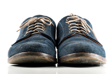 navy bluemen shoes on white isolated background