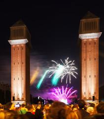 Colorful firework at Plaza de Espana