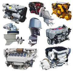 Set of engines of speedboat