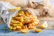 Fish and Chips in newspaper - 81253698