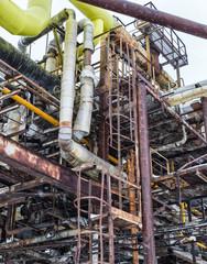 metal rusty pipes and smokestacks