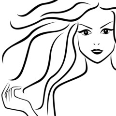 Abstract beautiful girl with flowing hair