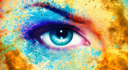 women eye, color rust effect, painting collage, violet makeup.