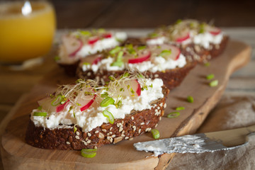 Mini sandwiches with cottage cheese and vegetables