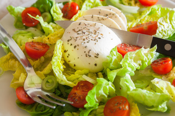 Fresh salad with mozarella cheese and cherry tomatoes, closeup