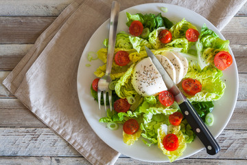 Fresh salad with mozarella cheese and cherry tomatoes, top view