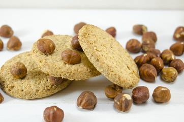 Oatmeal cookie and hazelnuts