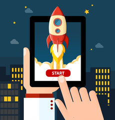 Vector business start up illustration. Space rocket launch