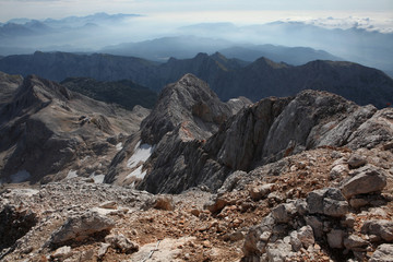 View from Mount Triglav in the Julian Alps, Slovenia.