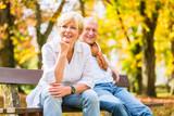 Älteres Paar sitzt auf Park Bank im Herbst