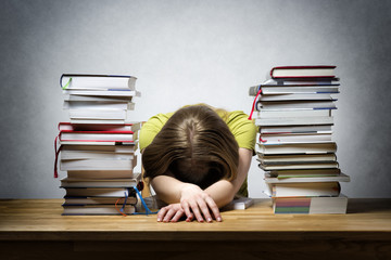 Overworked female student