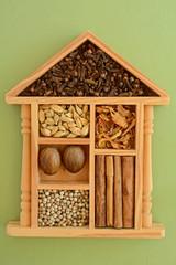 Sri Lankan spices in decorative box