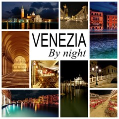 Colorful collage of venice by night