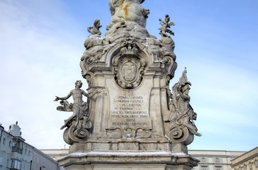 Plague Column. Decoration elements. Linz, Austria