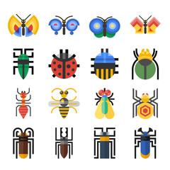 Insects geometric icons set