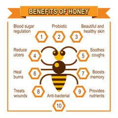 Infographic placard about benefits of honey