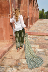 Young woman in the traditional Indian punjabi dress at Humayun's