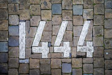1444 pavement in Brussels, Belgium