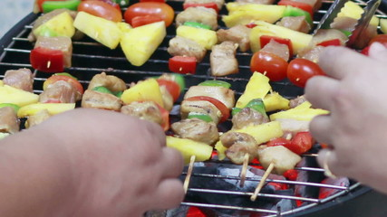 HD Footage of Grilling barbecue on grill
