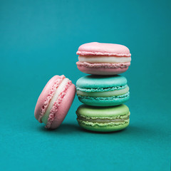 Colorful french macaroons in vintage style