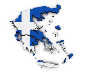 Greece Map Flag Shape