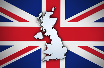 Uk Map On British Union Jack Flag
