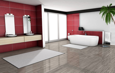 Red Bathroom Home Interior