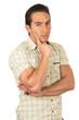 young handsome hispanic man posing thinking