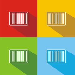 Iconos código de barras colores sombra