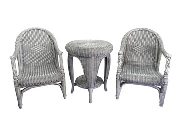 wicker furniture isolated on a white background