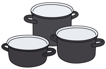 Hand drawing of three black pots