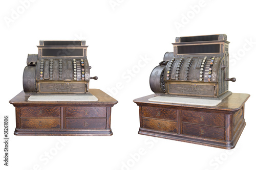 Fotobehang Retro antique cash register isolated on white background