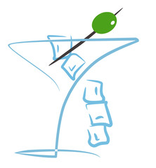 Cocktail with olive Illustration (drawing color)