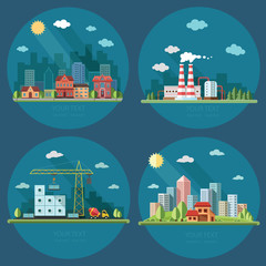 icons set. large city on the background of a country house, city