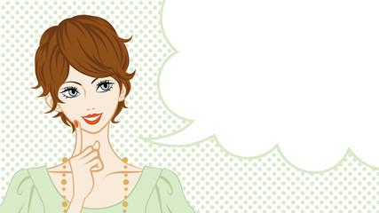 Short Hair women talking, speech bubble